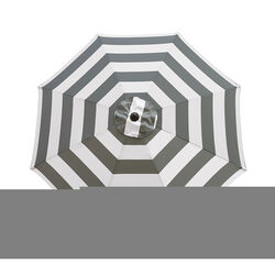 Living Accents 9 ft. Tiltable Gray Stripe Market Umbrella