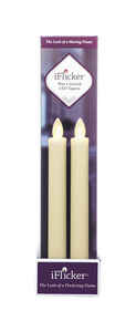 Iflicker  Butter Cream  Taper  Candle  9 in. H x 2 in. Dia.