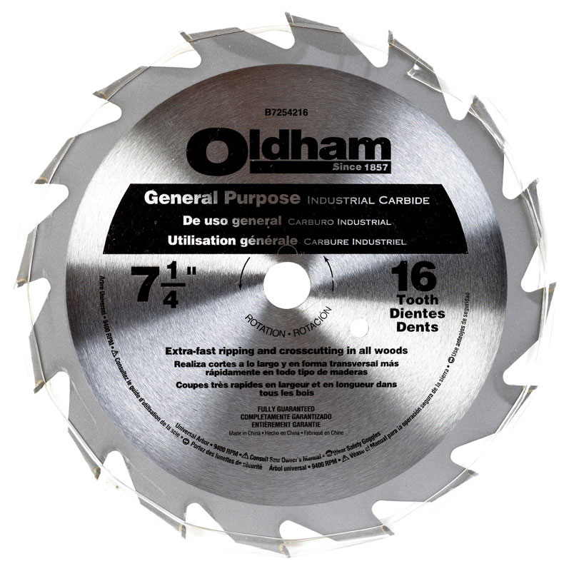 Oldham  7-1/4 in.  Carbide Tipped  Circular Saw Blade  5/8 in.  16 teeth 1 pk
