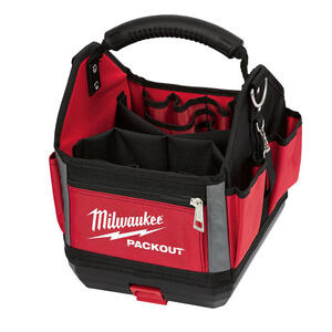 Milwaukee  PACKOUT  11 in. W x 13 in. H Polyester  Tool Tote  28 pocket Black/Red  1 pc.