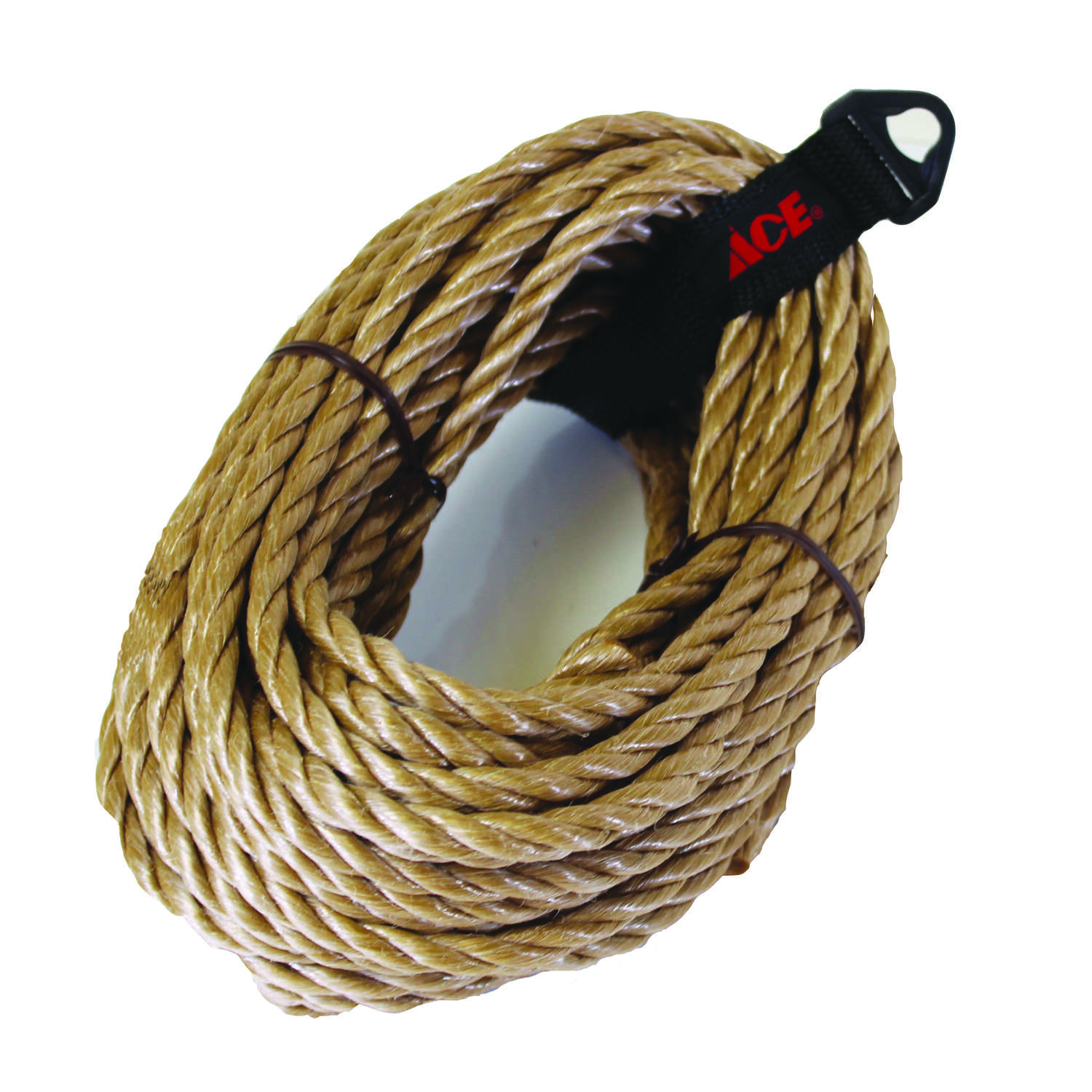 Ace  3/8 in. Dia. x 50 ft. L Tan  Twisted  Rope  Poly