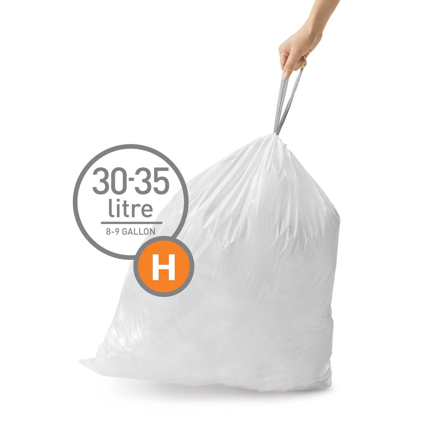 simplehuman  Custom Fit Code H  8-9 gal. Trash Bag Liner  Drawstring  60 pk