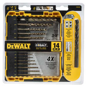 DeWalt  Industrial  Multi Size in. Dia. x Multiple  L Cobalt  Drill Bit Set  14 pc. Hex Shank