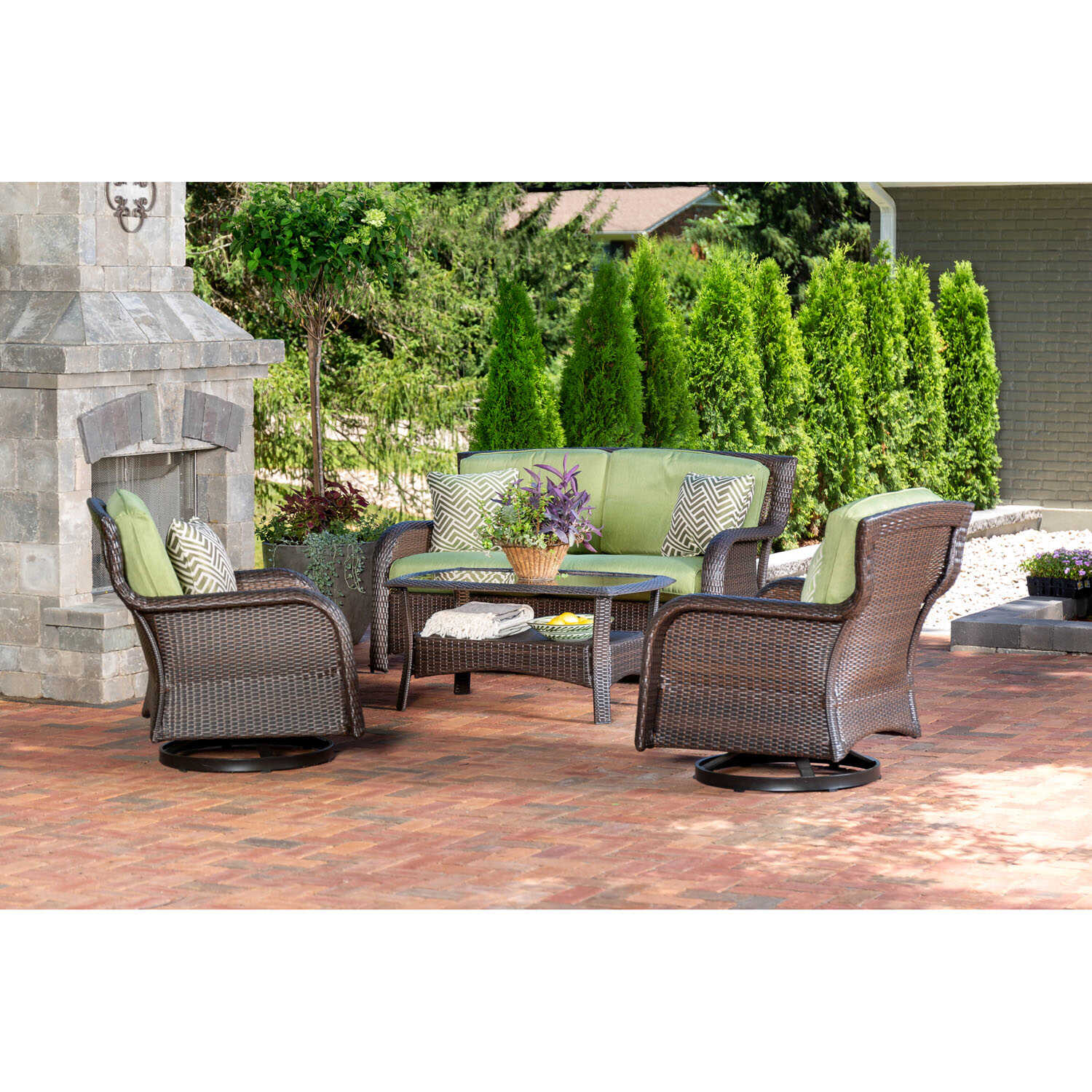 Hanover  Strathmere  4 pc. Aged Barrel Steel  Steel  Lounge  Cilantro Green