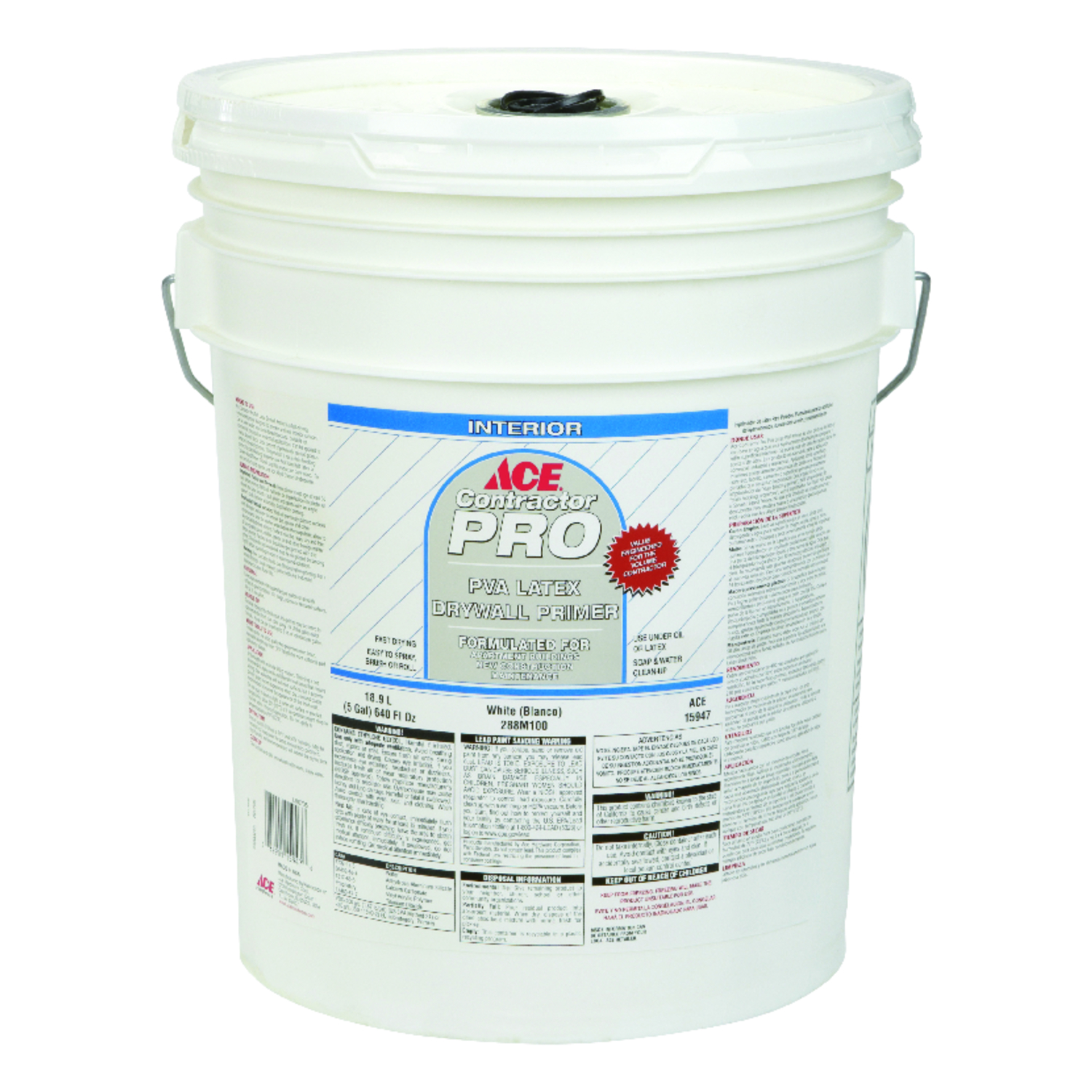 Ace  Contractor Pro  Flat  White  For Drywall 5 gal. PVA Primer  Latex