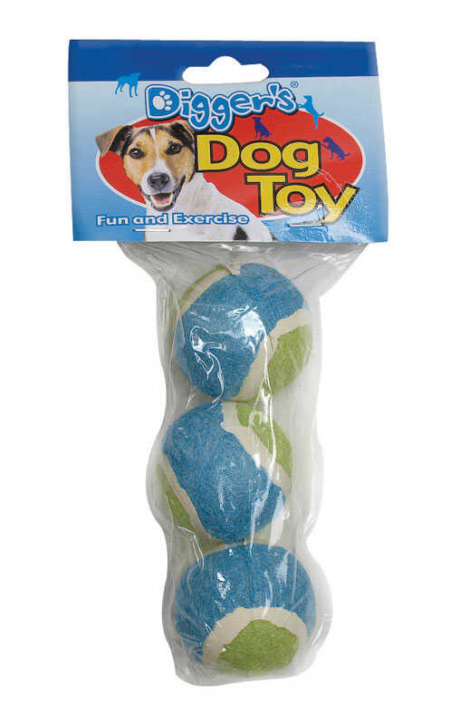 Diggers  Multicolored  Tennis Balls  Rubber  Dog Toy  Small