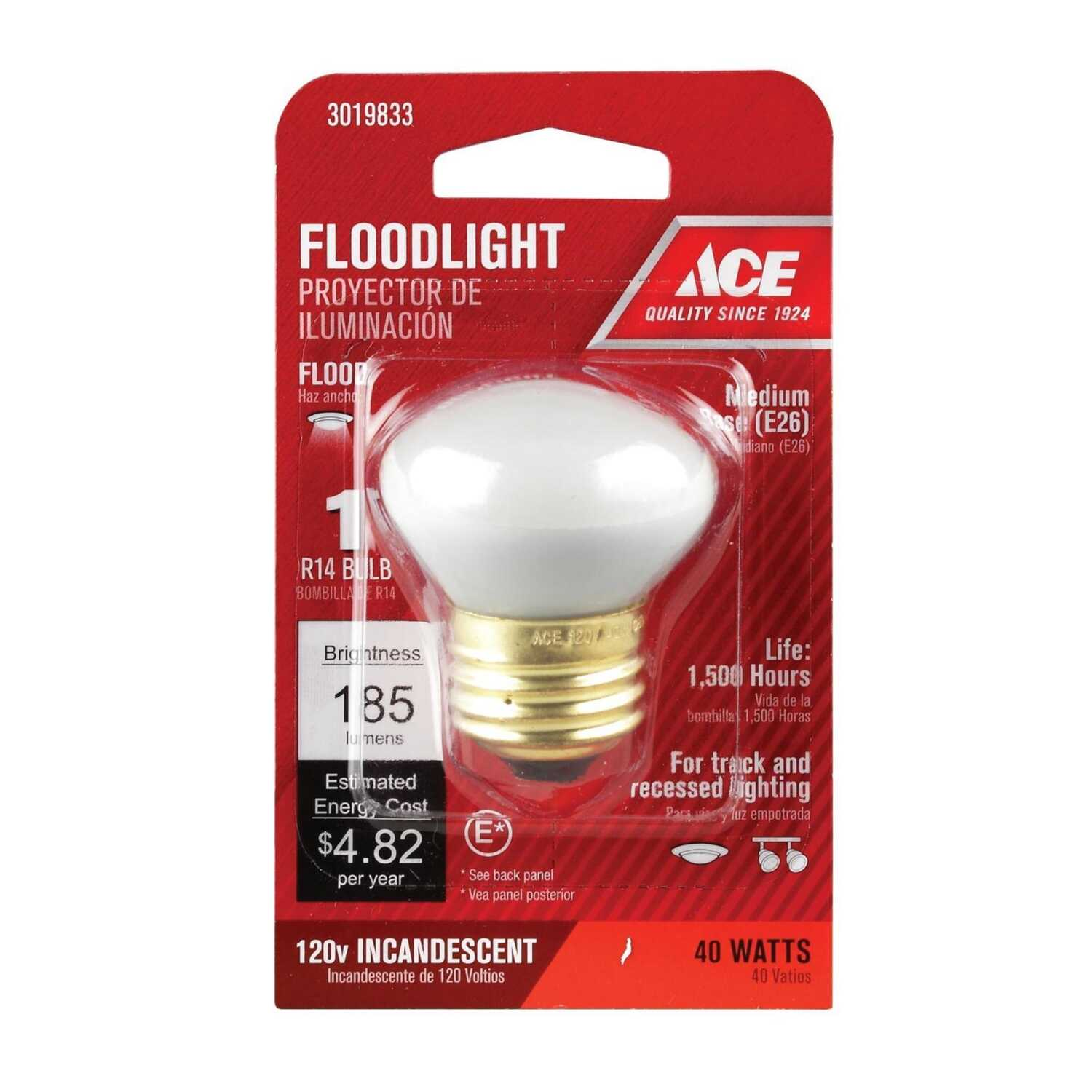 Ace  40 watts R14  Floodlight MB  Incandescent Bulb  Soft White  1 pk