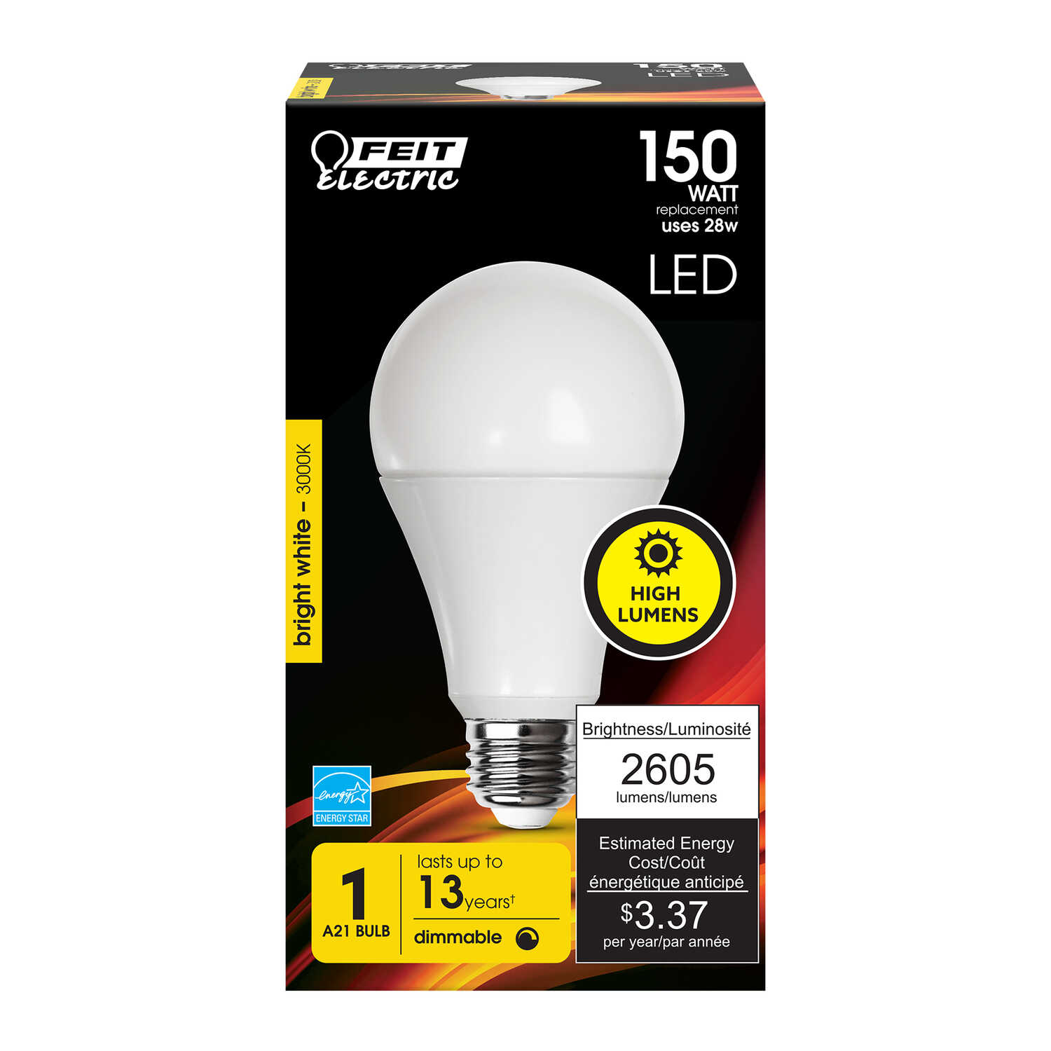 FEIT Electric  23 watts A21  LED Bulb  2200 lumens Warm White  A-Line  150 Watt Equivalence
