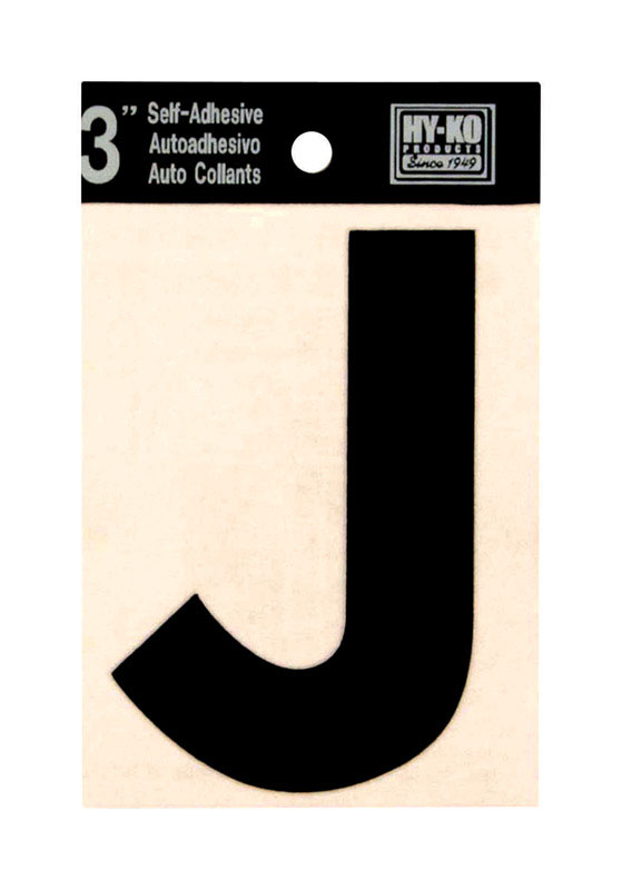 Hy-Ko  Vinyl  Black  J  3 in. Self-Adhesive  Letter