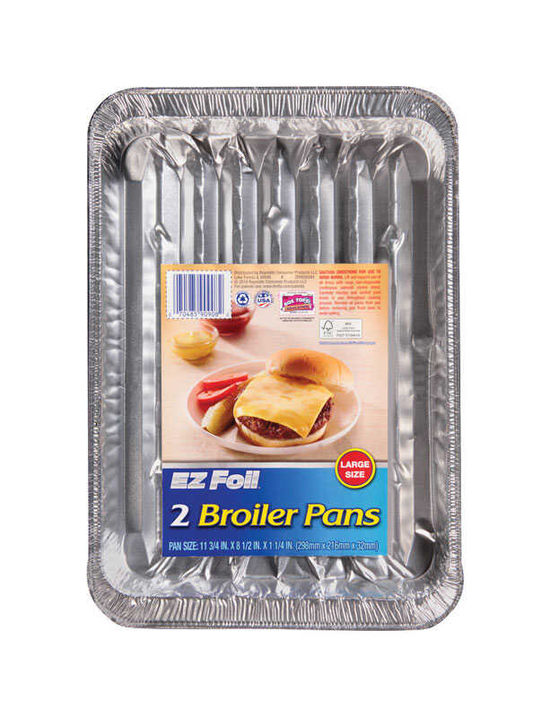 Hefty  EZ Foil  8-1/2 in. W x 11-3/4 in. L Super Broiler Pan  Silver  2 pk