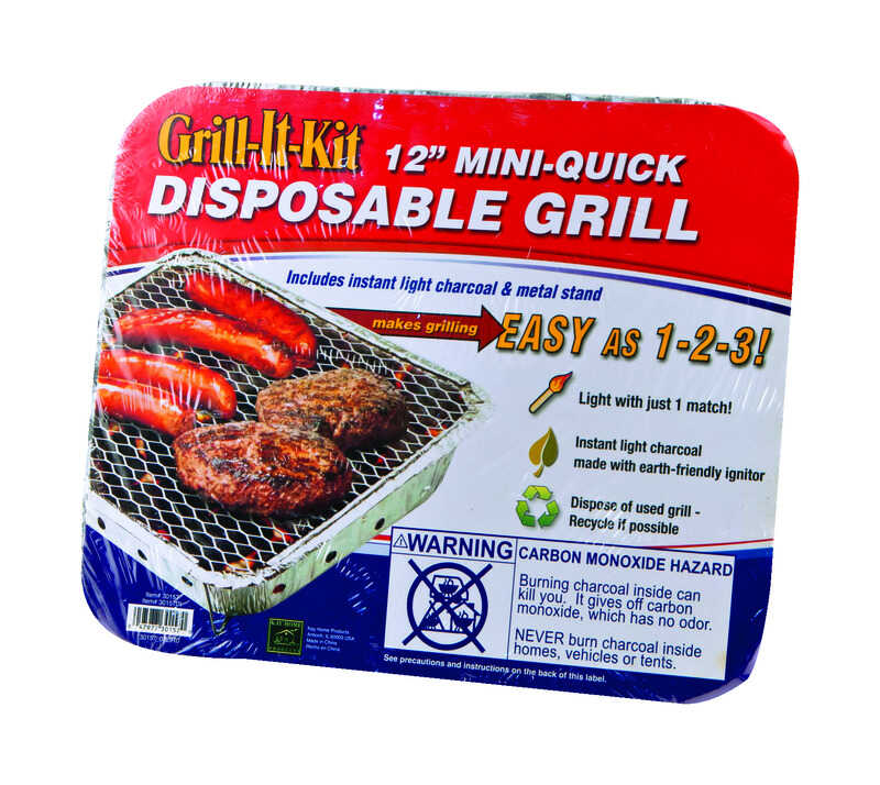 Grill-It-Kit  Mini-Quick  Charcoal  Disposable  Grill  Silver
