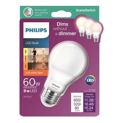 Philips Scene Switch A19 E26 (Medium) LED Bulb Soft White 60 Watt Equivalence 1 pk