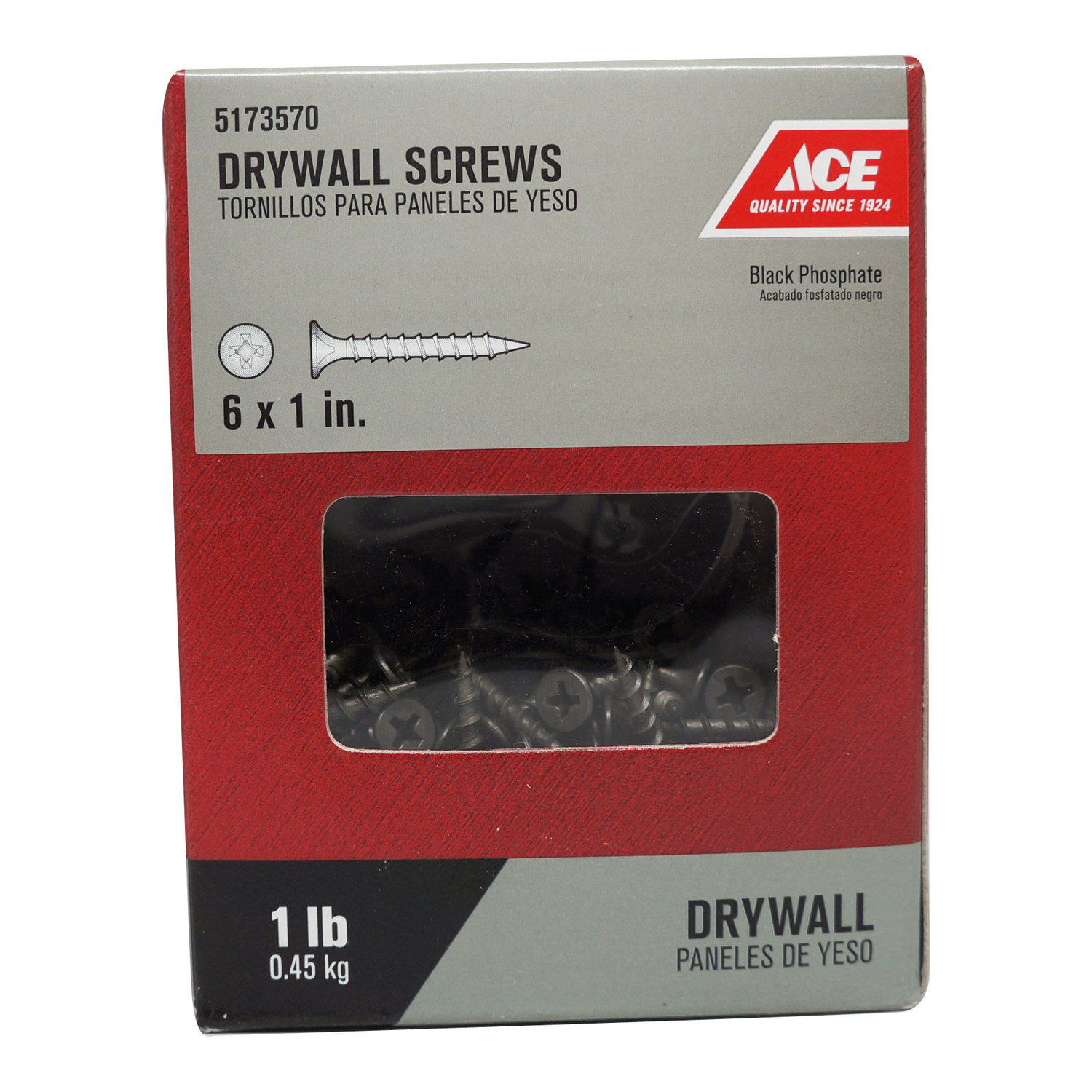 Ace  No. 6   x 1 in. L Phillips  Bugle Head Black Phosphate  Steel  Drywall Screws  1 lb. 343
