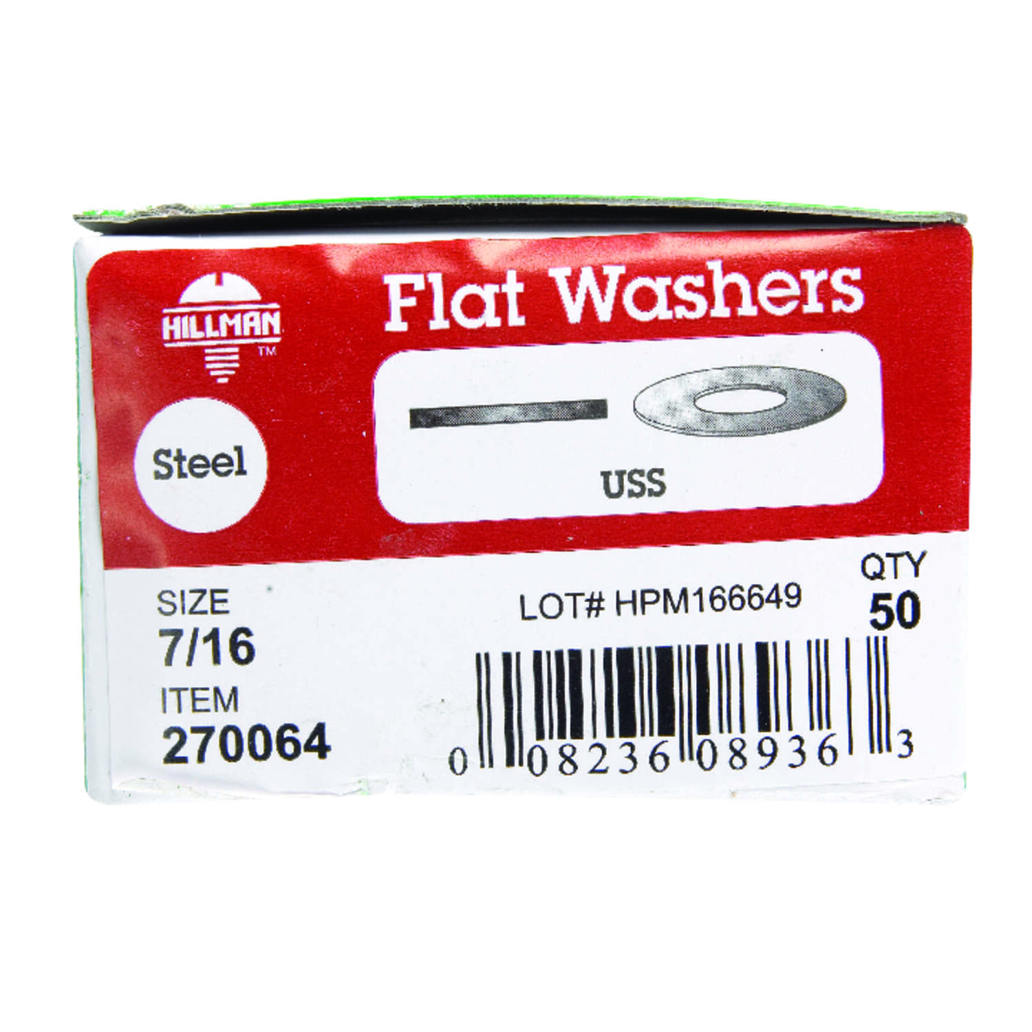 HILLMAN  Zinc-Plated  Steel  7/16 in. USS Flat Washer  50 pk