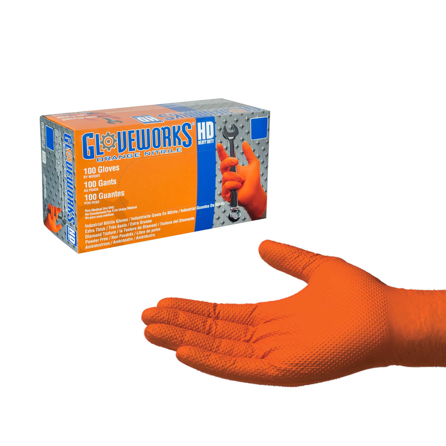 Gloveworks  Nitrile  Disposable Gloves  XXL  Orange  100 pk