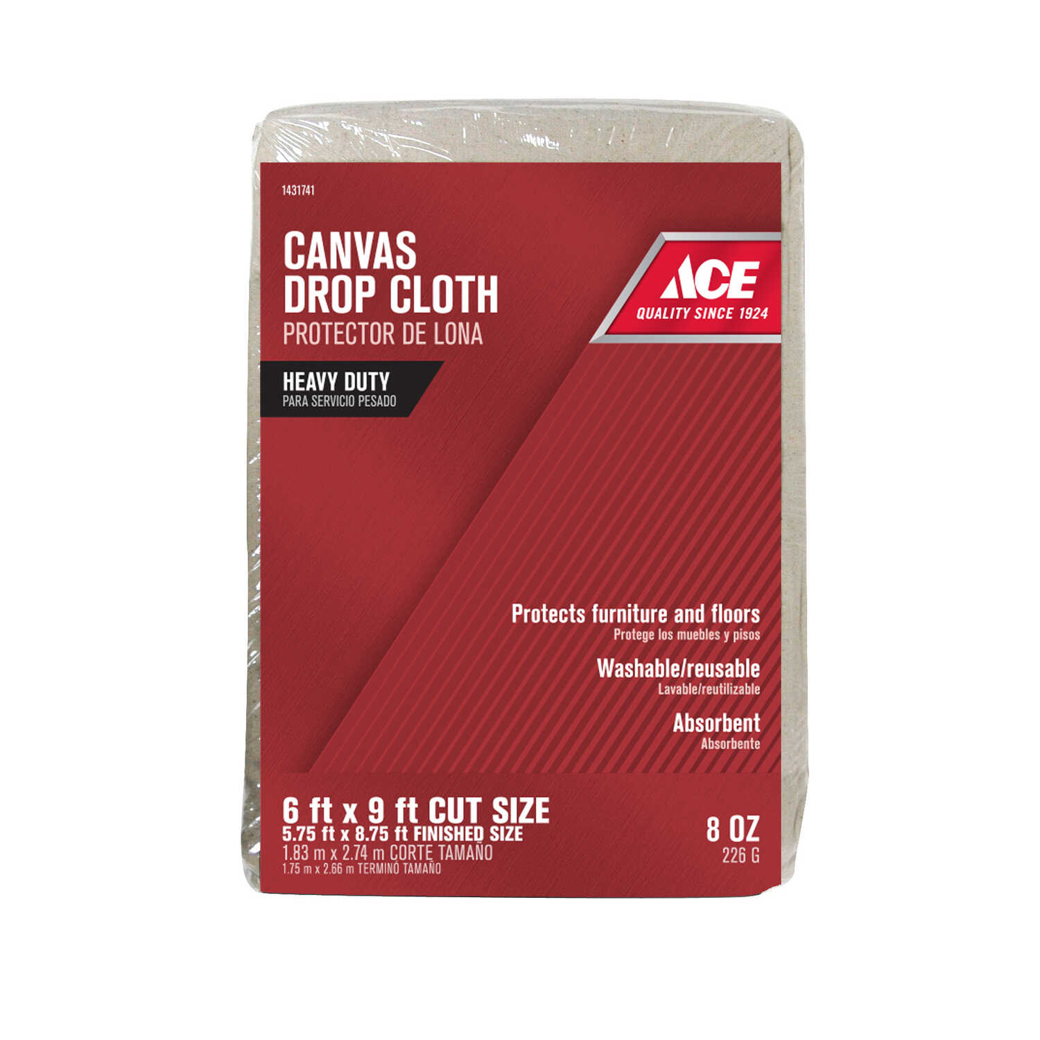 ACE  Heavy Weight Grade Canvas  Drop Cloth  6 ft. W x 9 ft. L Natural