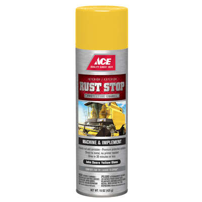 Ace  Rust Stop  Gloss  John Deere Yellow  Protective Enamel Spray  15 oz.
