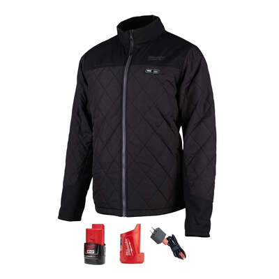 Milwaukee  M12 AXIS  XL  Long Sleeve  Unisex  Full-Zip  Heated Jacket Kit  Black