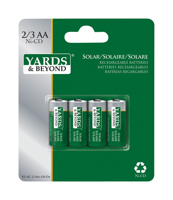 Living Accents Yards & Beyonds  Ni-Cad  AA  Solar Rechargeable Battery  BTNC23AA150D4  4 pk