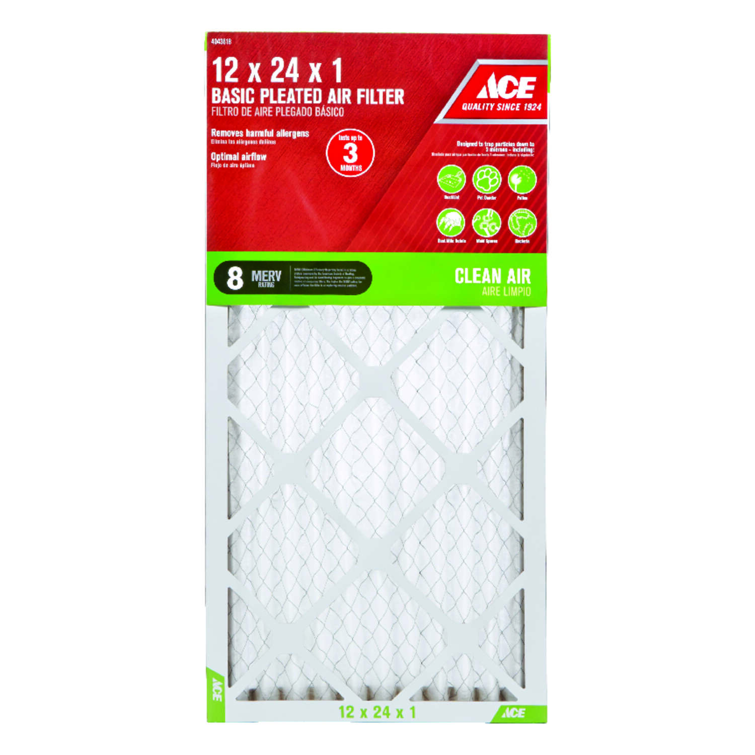 Ace  12 in. W x 24 in. H x 1 in. D Pleated  8 MERV Pleated Air Filter