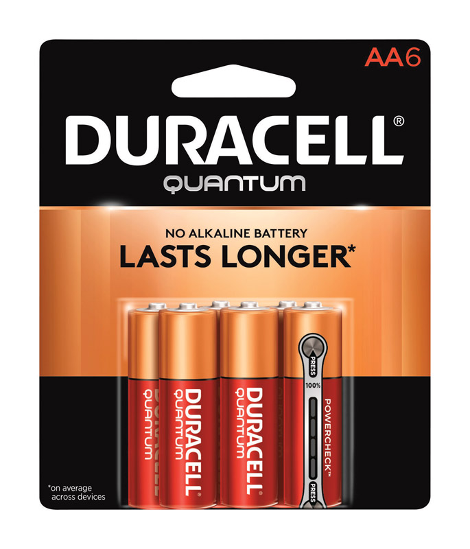 Duracell  Quantum  AA  Alkaline  Batteries  1.5 volts 6 pk Carded
