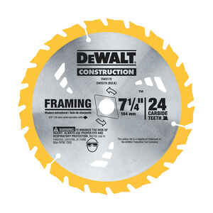 DeWalt  7-1/4 in. Dia. x 5/8 in.  Carbide Tipped  Construction  Circular Saw Blade  24 teeth 2 pk