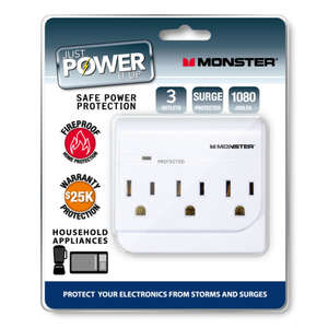 Monster Cable  Just Power It Up  1080 J 3 outlets Surge Tap