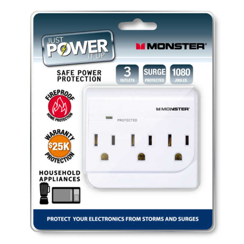 Monster  Just Power It Up  1080 J 3 outlets Surge Tap