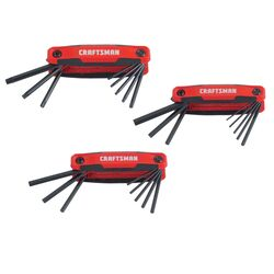Craftsman  1/4  Metric and SAE  Fold-Up  Hex Key Set  6 in. 24 pc.