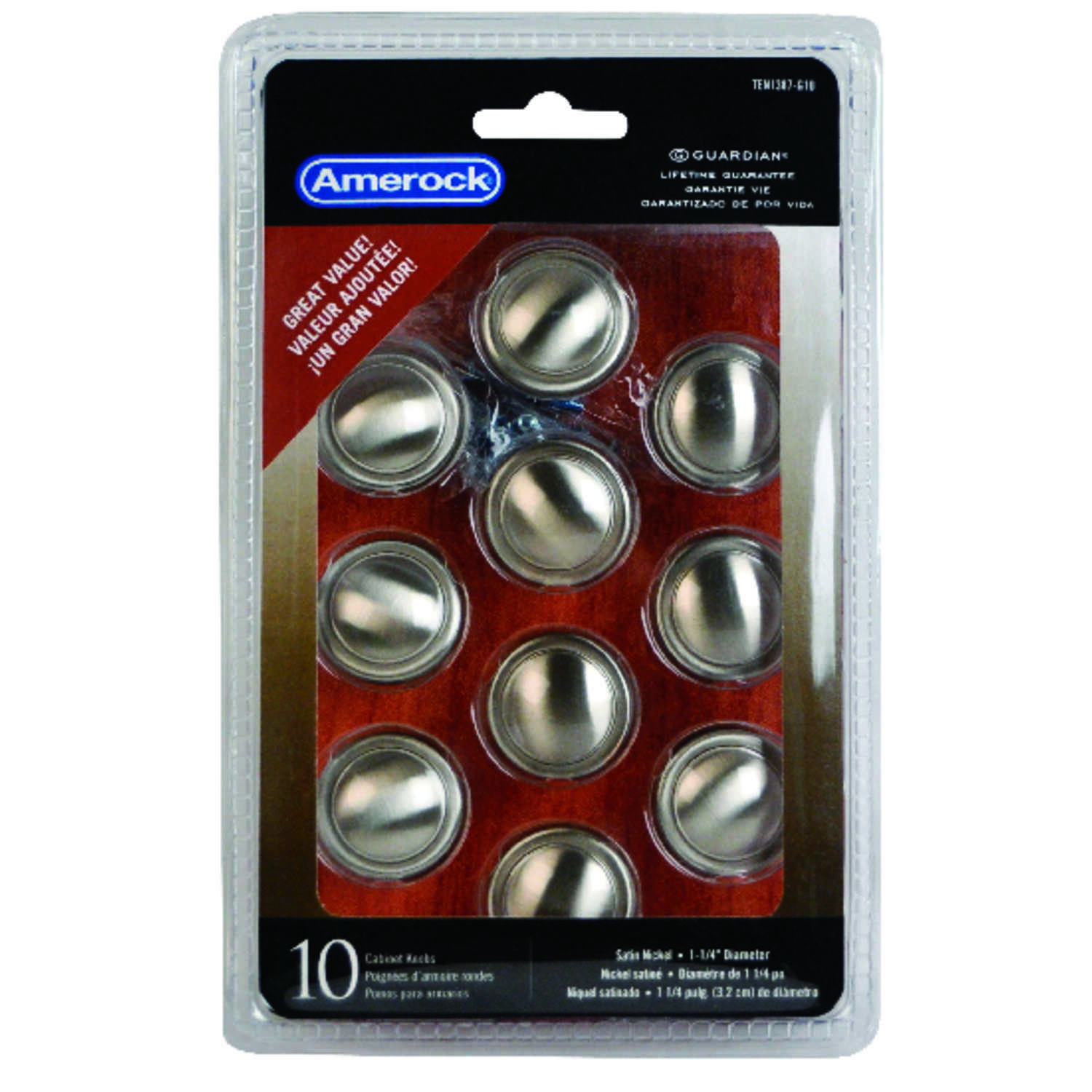Amerock  Allison  Round  Cabinet Knob  1-1/4 in. Dia. 1-1/16 in. Satin Nickel  10 pk