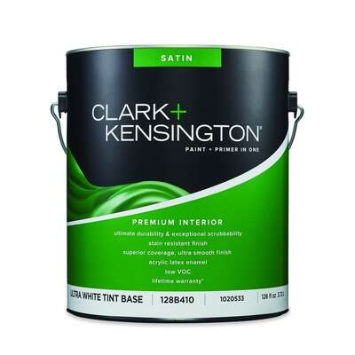 Clark+Kensington  Satin  Tint Base  Ultra White Base  Acrylic Latex  Premium Paint  Interior  1 gal.