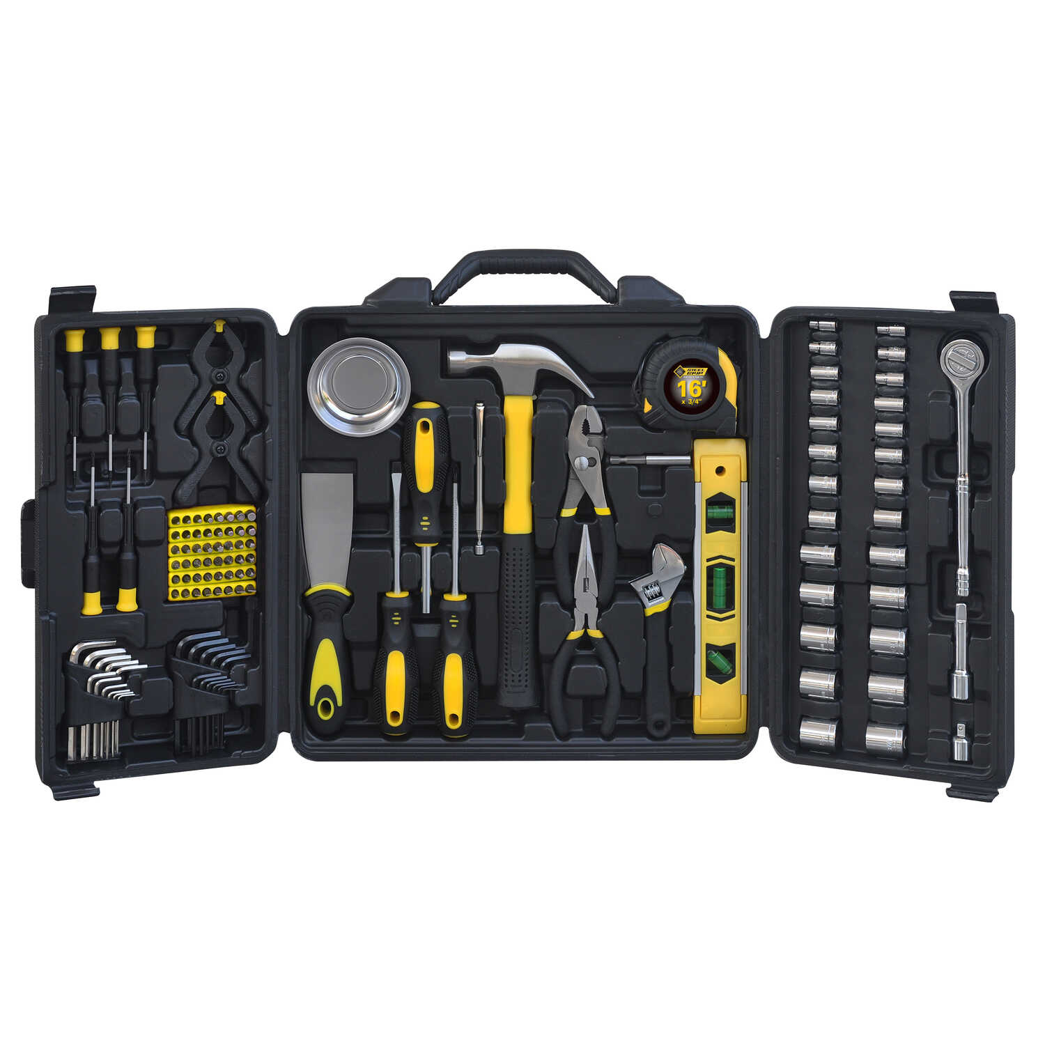 Steel Grip  1-1/4 in.  x 1/4, 3/8 and 1/2 in.  Metric and SAE  6  Socket and Tool Set  120 pc.