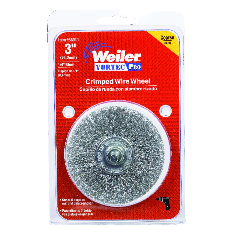 Weiler Vortec Pro 3 in  Crimped Wire Wheel Brush Carbon Steel 20000