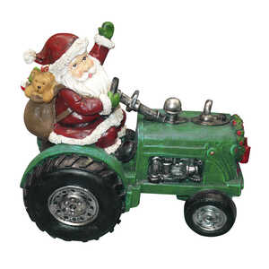 Alpine  Santa on Tractor Statue  Christmas Decoration  Assorted  1 each Resin
