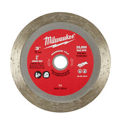 Milwaukee  3 in. Dia. x 3/8 in.  Diamond  Tile Blade  1 pc.