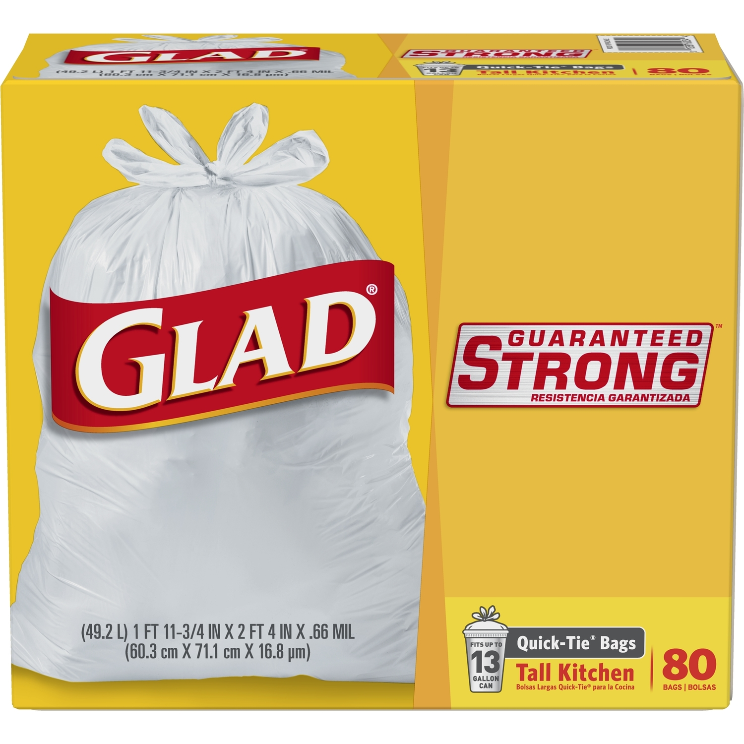 Glad  13 gal. Trash Bags  Quick Tie  80 pk