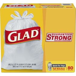 Glad  13 gal. Tall Kitchen Bags  Quick Tie  80 pk