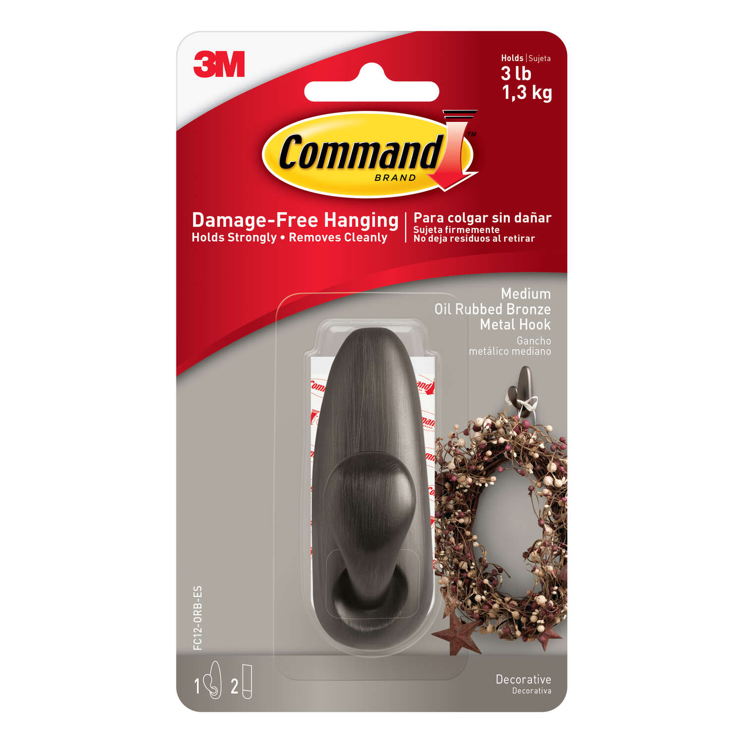 3M  Command  3-1/4 in. L Oil Rubbed Bronze  Metal  Medium  Coat/Hat Hook  3 lb. capacity 1 pk Foreve