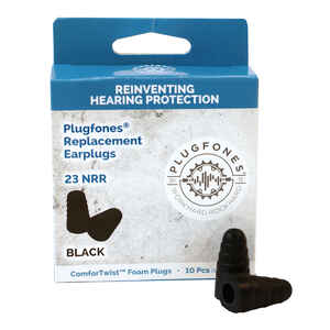 Plugfones  ComforTwist  23 dB Soft Foam  Replacement Ear Plugs  Black  5 pair