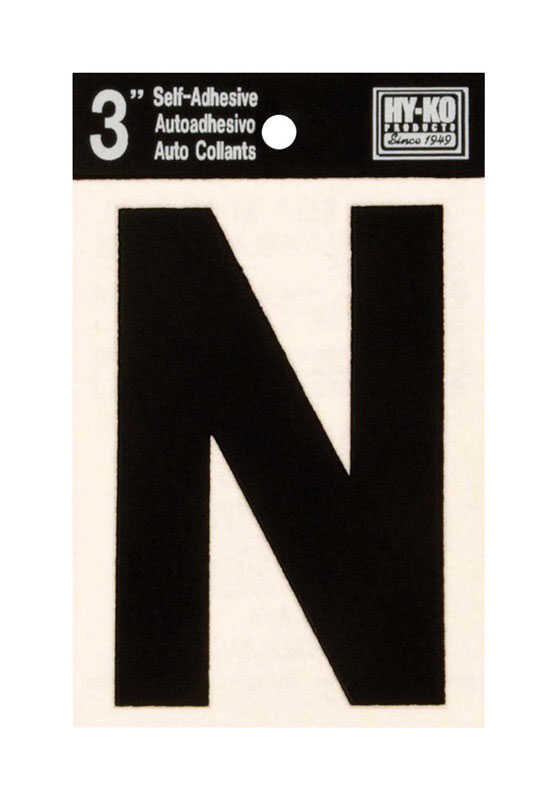 Hy-Ko  Black  N  Letter  Self-Adhesive  3 in. Vinyl
