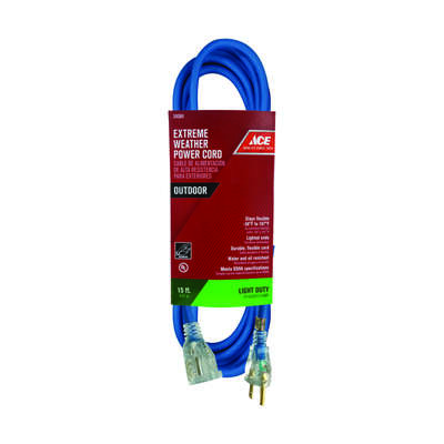Ace Outdoor 15 ft. L Blue Extension Cord 16/3 SJOW