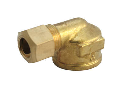 JMF  1/2 in. Compression   x 1/2 in. Dia. FPT  Brass  90 Degree Elbow