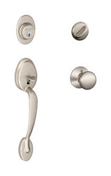 Schlage  Classic / Contemporary  Satin Nickel  Brass  Handleset  1  Right or Left Handed