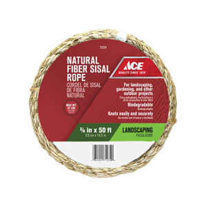Ace  50 ft. L x 3/8 in. Dia. Tan  Twisted  Sisal  Rope