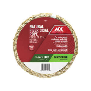Ace  3/8 in. Dia. x 50 ft. L Tan  Sisal  Rope  Twisted