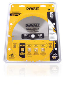 DeWalt  10 in. Dia. x 5/8 in.  Construction  Carbide Tipped  Circular Saw Blade  24 teeth 1 pk