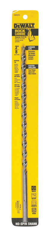 DeWalt  3/8 in. Dia. x 12 in. L Carbide Tipped  Percussion Drill Bit  3-Flat Shank  1 pc.