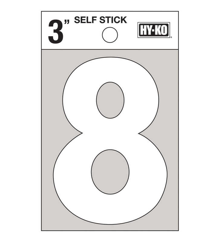 Hy-Ko  Reflective 3 in. 8  Number  Self-Adhesive  Vinyl  White