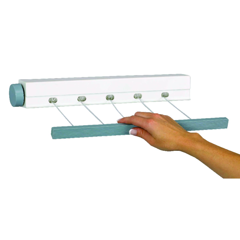 Household Essentials Sunline 2.5 L Silver White/Blue Retractable Clothesline  Plastic