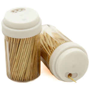 Chef Craft  5.5 in. W x 3-1/2 in. L Brown/Clear  Plastic/Wood  Toothpicks and Container